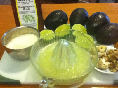 Ingredients for Raw Key Lime Pie...