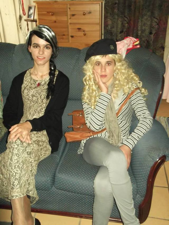 Often Portuguese Boys Dress in Drag for Friends Day.. My son and my nephew.. (or my daughter and my niece) HA!