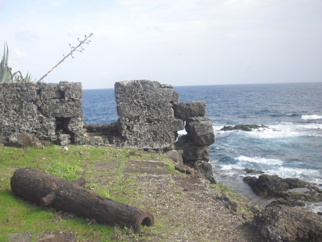 The ruins of an old fort, rusting cannon from hundreds of years ago