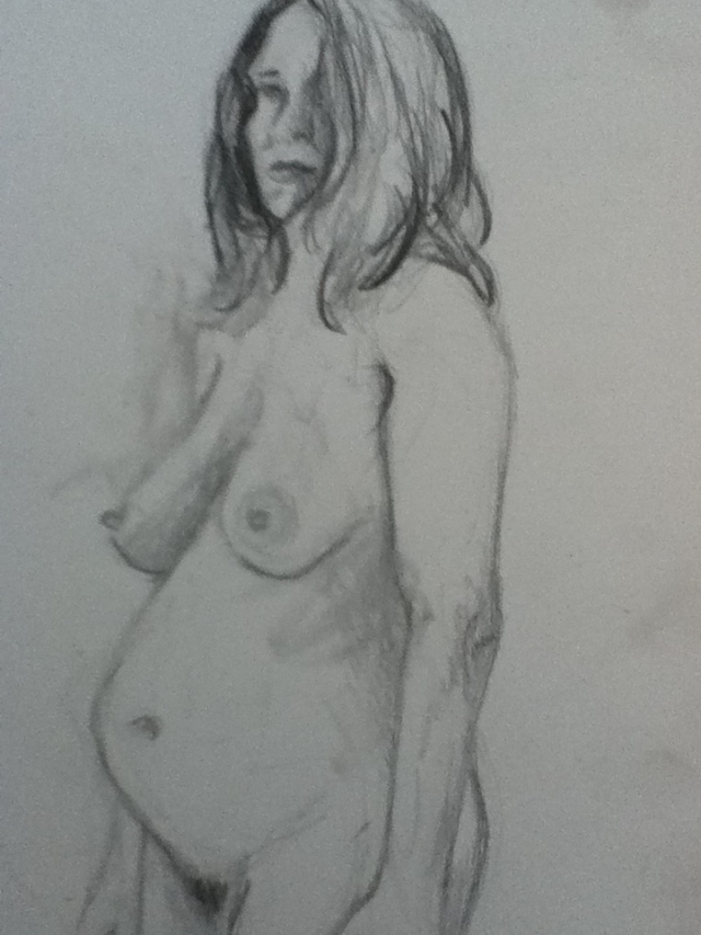 Another 15 minute sketch, my body when I was 6 1/2 months pregnant