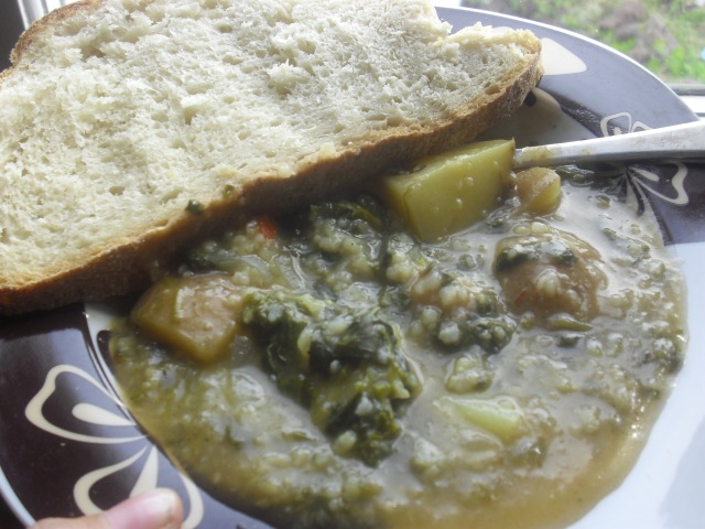 Watercress Potato and Rice Soup/With fresh Portuguese Bread