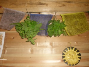 A couple of the drying bundles in my kitchen.. (being blessed perhaps by the prayer flags)