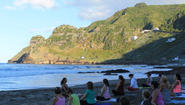 Teaching Beach Yoga in Sao Lourenco
