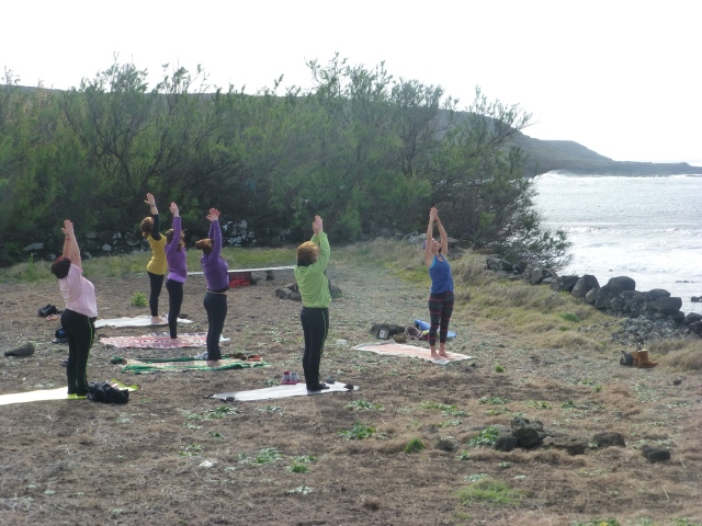 Teaching Yoga in Anjos in the Field Where I Found The Cannon