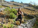 Tree pose, at the abandoned vineyards of Praia Formosa