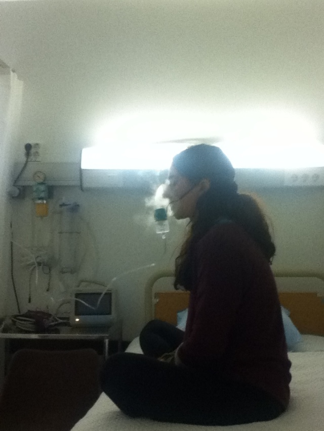 At the Hospital, in Easy Pose, Trying to Breathe