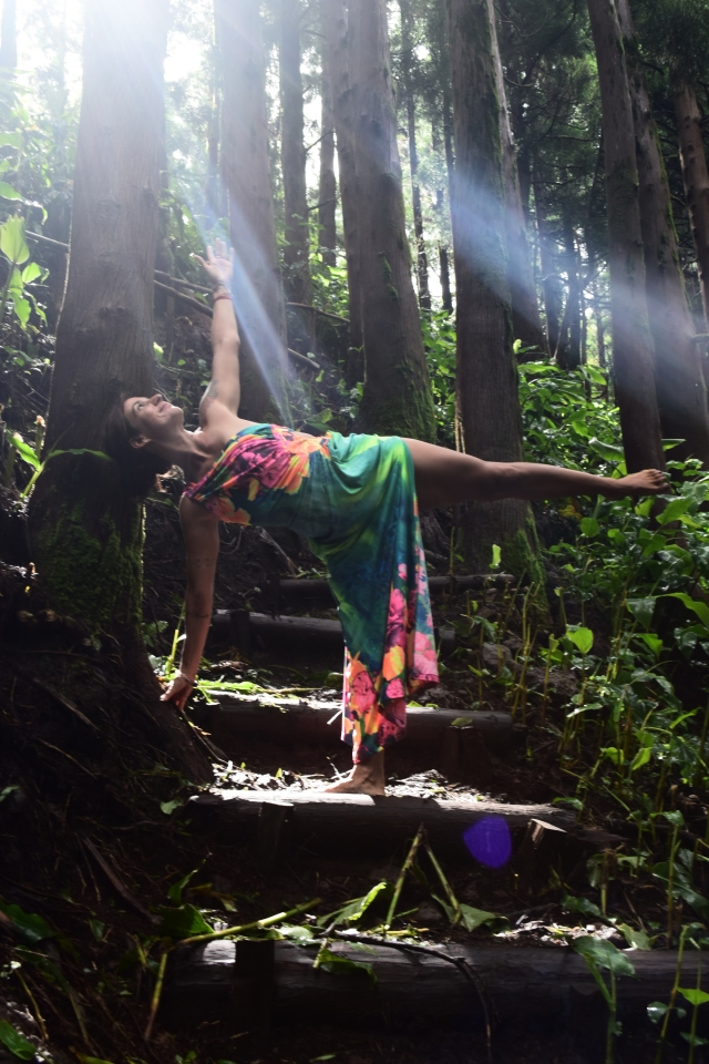 Earthing in Half Moon Pose, Fairies in the Forest